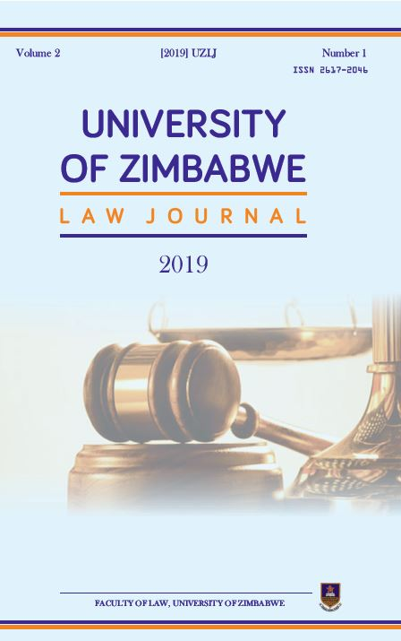 View Vol. 2 No. 1 (2019): University of Zimbabwe Law Journal